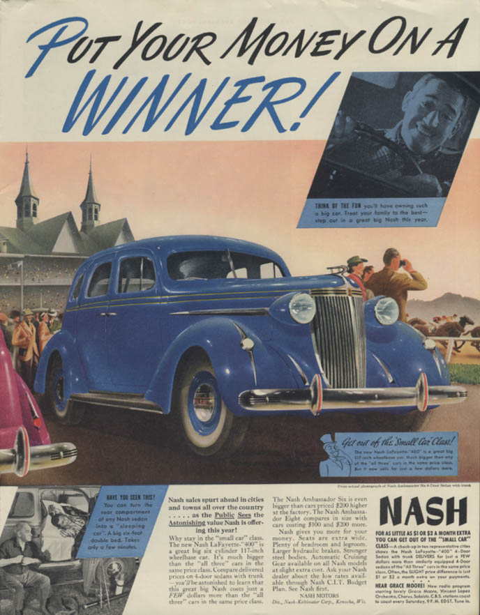 Put your money on a Winner! Nash Ambassador Six ad 1937 Churchill Downs