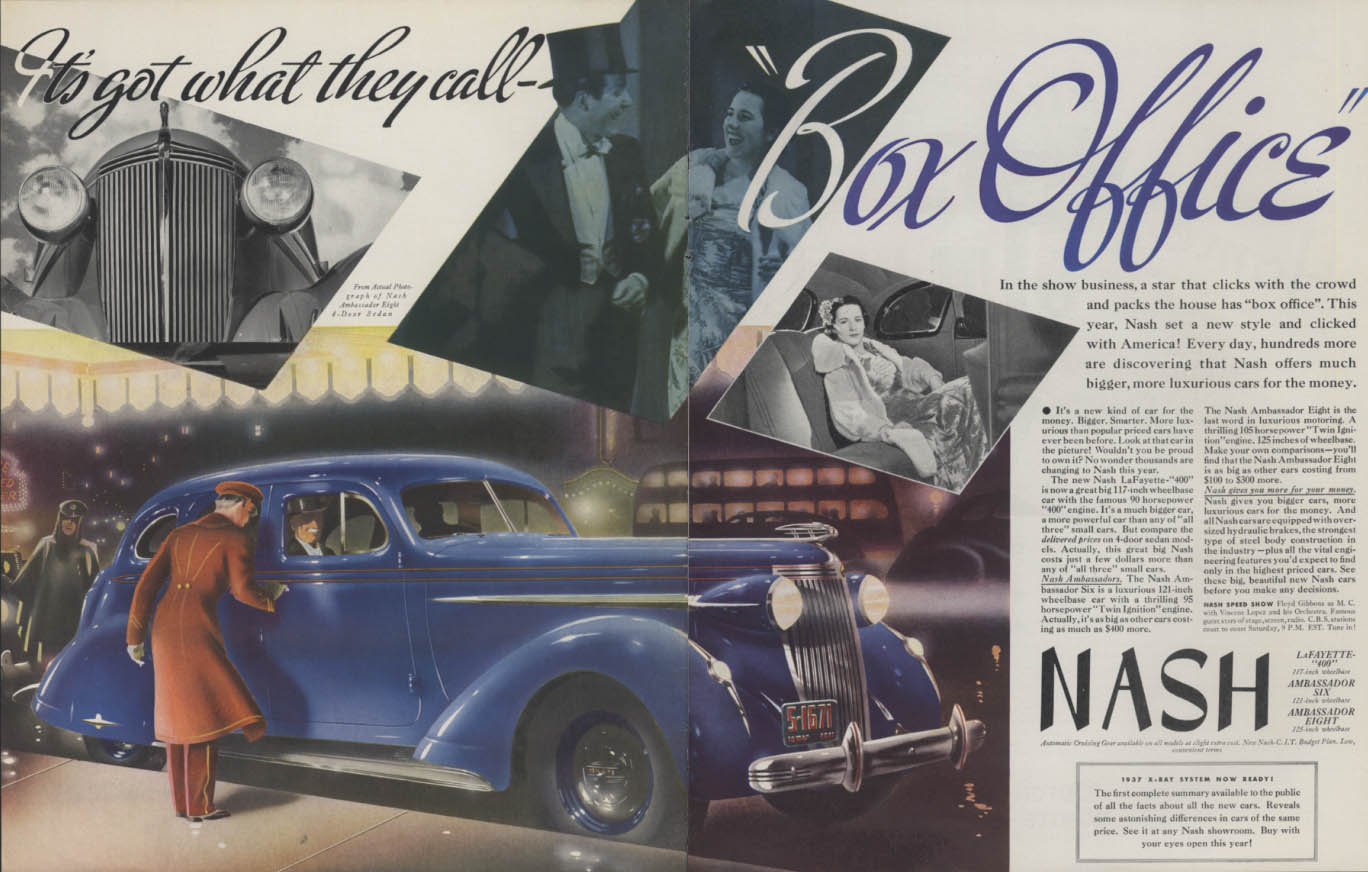 It's got what they call Box Office! Nash Ambassador Eight ad 1937