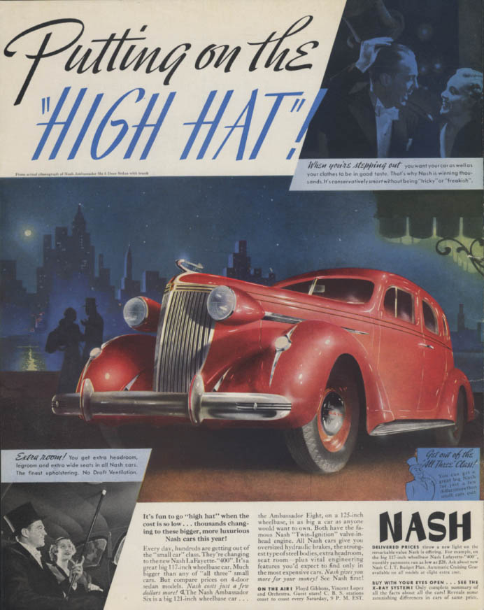 Putting on the High Hat! Nash Ambassador Six Sedan ad 1937