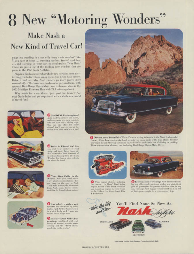 8 New Motoring Wonders! Make Nash Airflyte Ambassador Country Club ad 1953