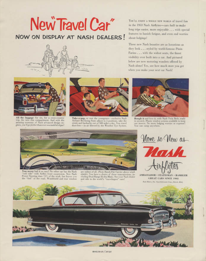 New Travel Car on display Nash Airflyte Ambassador Country Club ad 1953