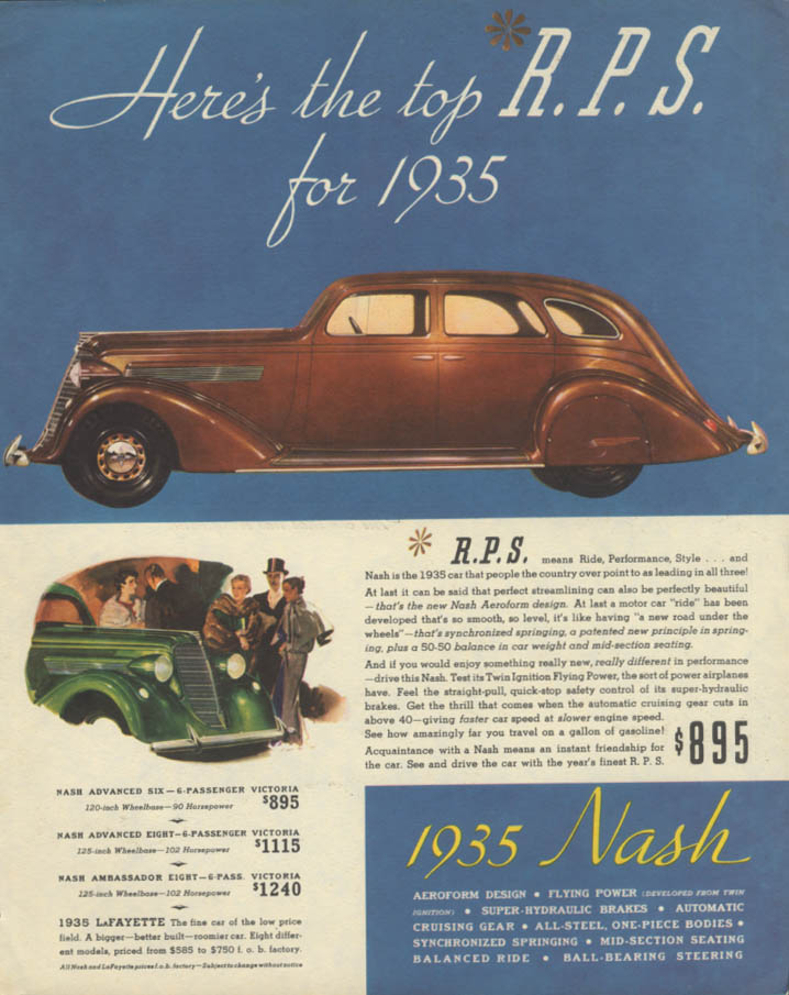 Image for Here's the top R P S for 1935 Nash Aeroform 4-door Sedan ad 1935
