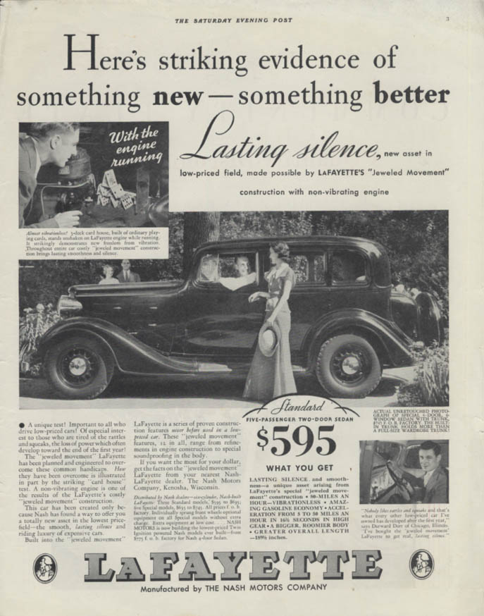 Striking evidence of something new & better LaFayette by Nash ad 1934