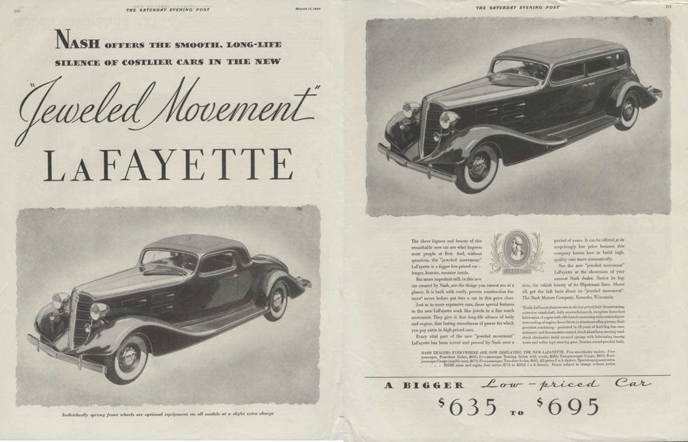 Smooth long-life silence Jeweled Movement Lafayette by Nash ad 1934