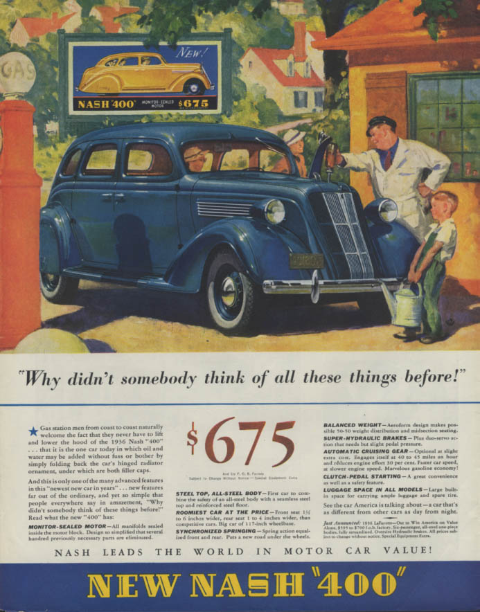 Why didn't someone think of these things before? Nash 400 Sedan ad 1936