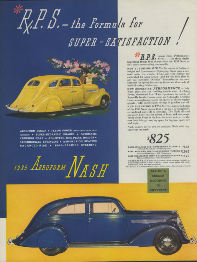 R P S The Formula for Super-Satisfaction! Aeroform Nash ad 1935