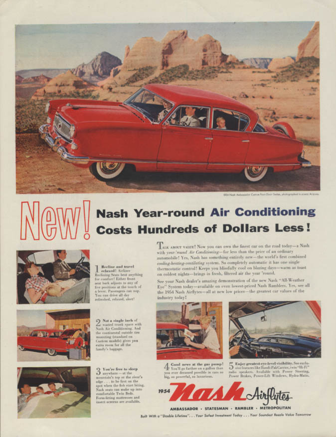 New! Year-round Air Conditioning for Hundreds Less! Nash Ambassador ad 1954