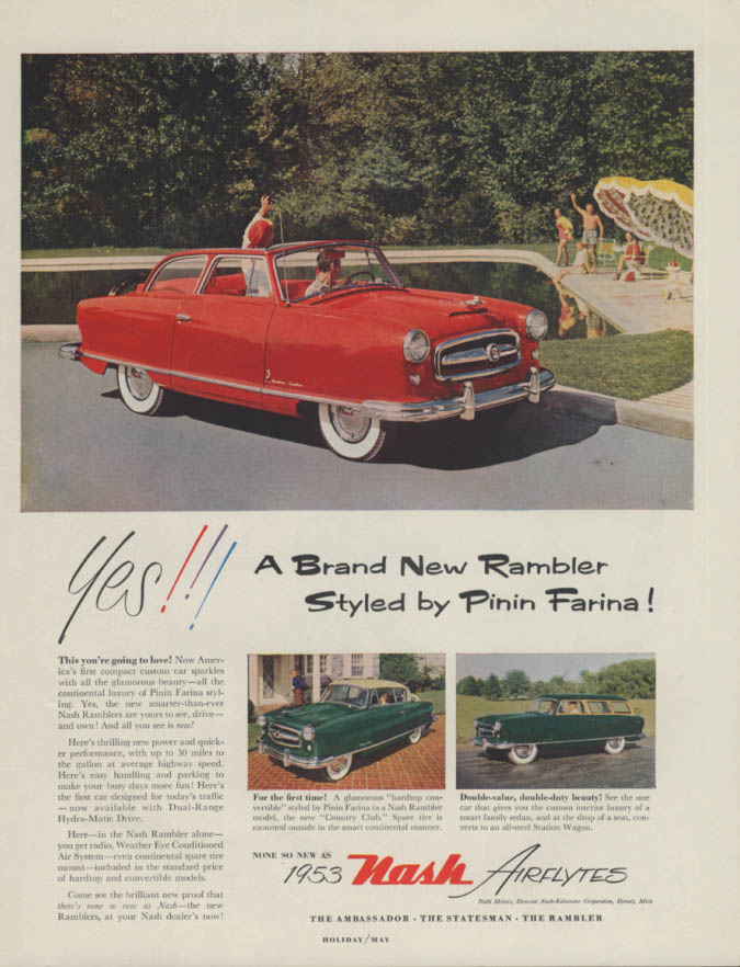 Image for Yes!!! A Brand New Rambler Styled by Pinin Farina! Nash ad 1953