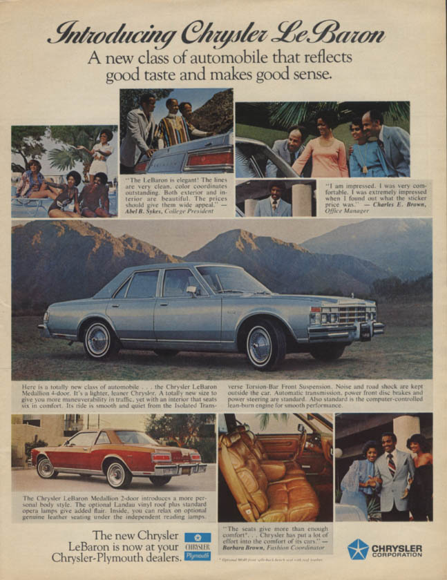 Introducing Chrysler LEBaron a new class of automobile ad 1977 Negro models