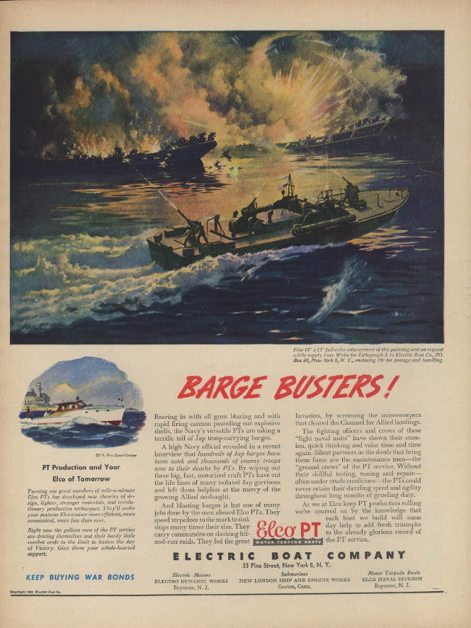 Barge Busters! Electric Boat Elco PT Boat ad 1944