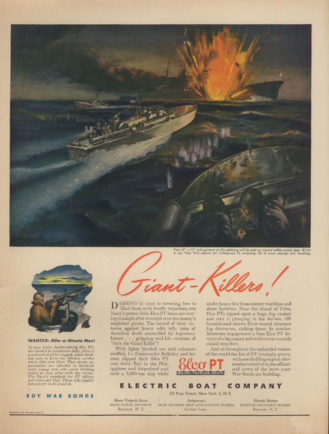 Giant-Killers! Electric Boat PT Boat ad 1943