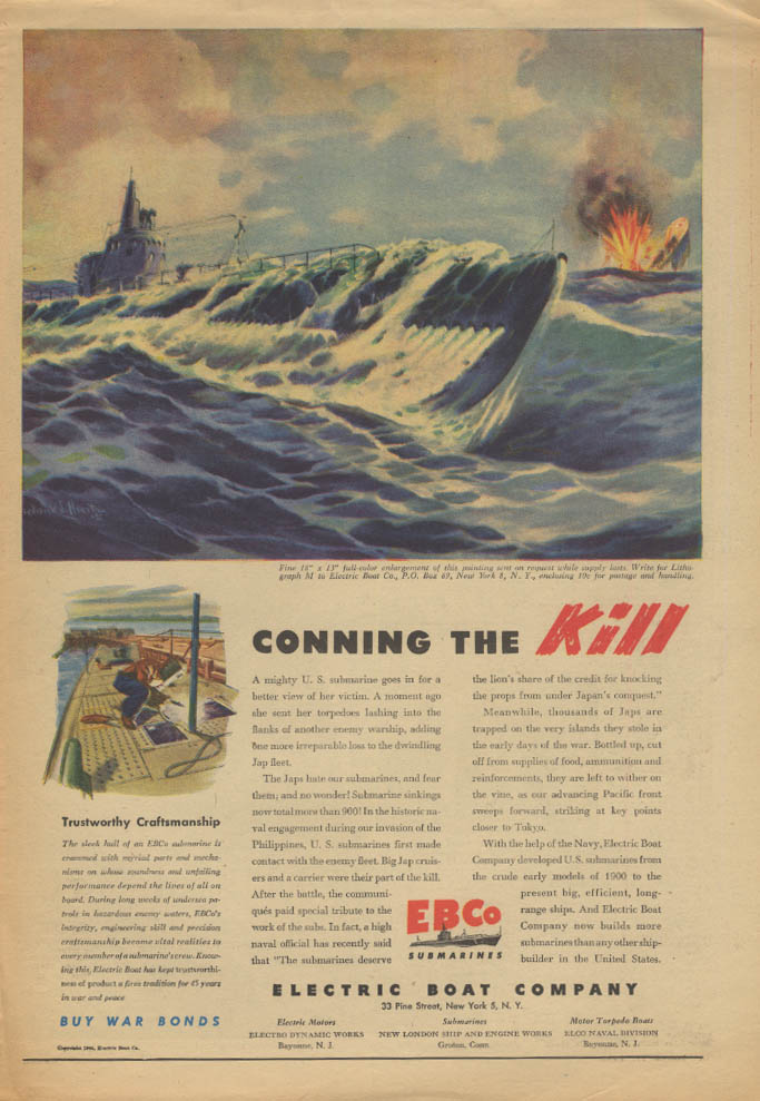 Conning the Kill Electric Boat Submarine ad 1944