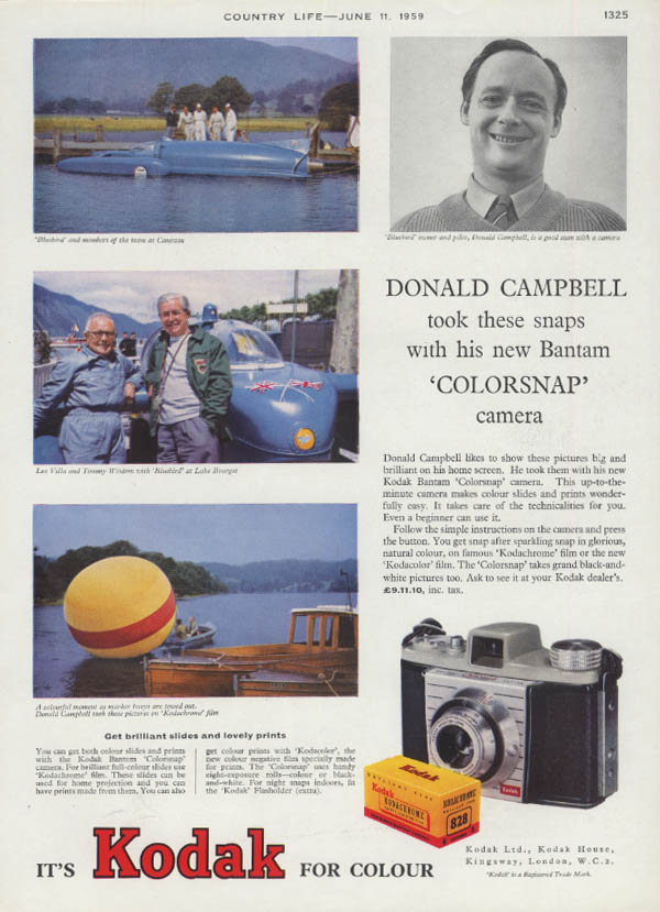 Donald Campbell & speedboat Bluebird at Coniston Kodak ad 1959