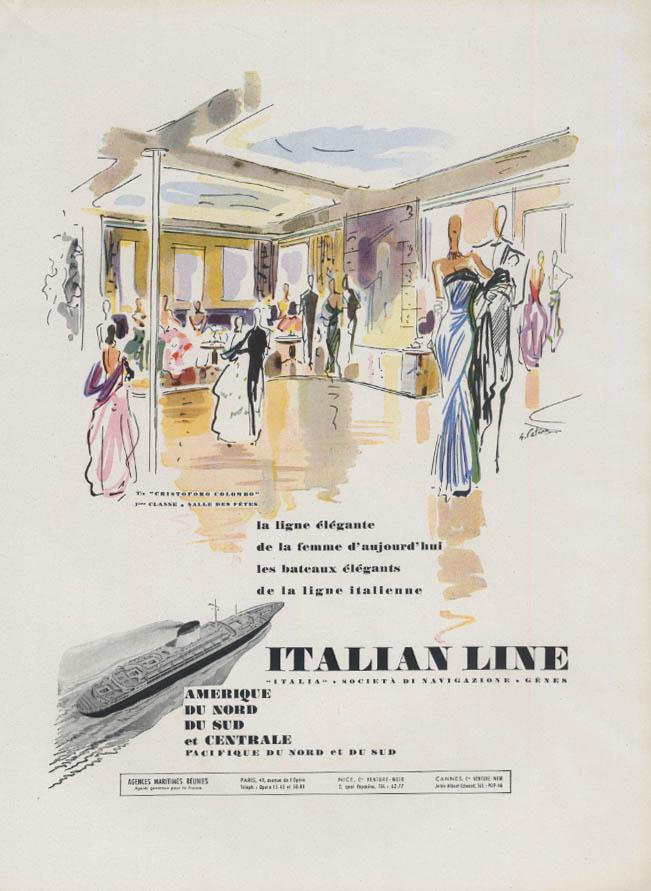 La Ligne Elegante Italian Line S S Cristoforo Colombo ad 1953