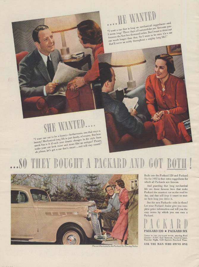 He Wanted & She Wanted Packard / International Panel Delivery Truck ad 1937