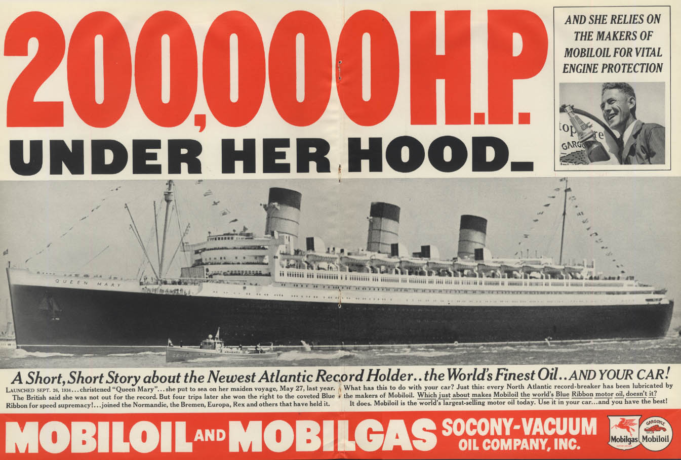 200,000 HP under the hood Cunard R M S Queen Mary Mobiloil ad 1937