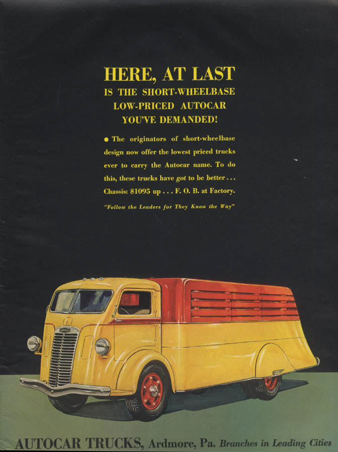 Image for Here at last the short-wheelcase Autocar Truck you wanted ad 1937