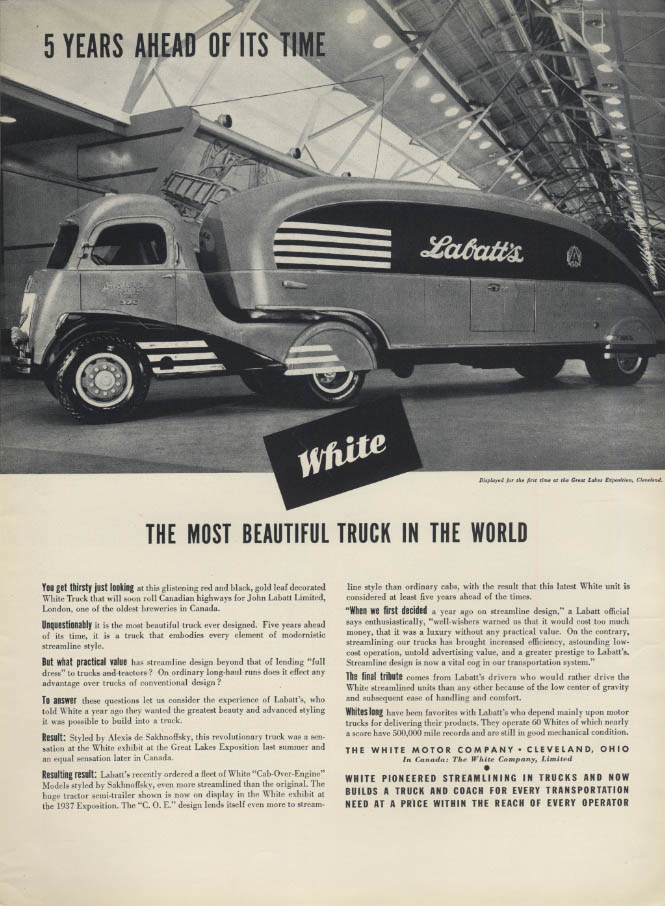 Most Beautiful White streamlined COE Labatt's Beer Truck ad 1937