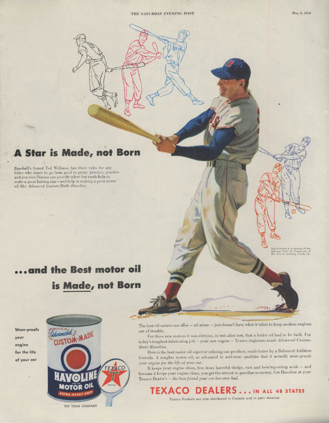 A Star is Made, not Born Ted Williams for Texaco Havoline Motor Oil ad 1954 P