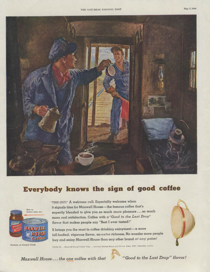 Caboose trainmen Maxwell House Coffee / Pontiac Wagon & Convertible ad 1949