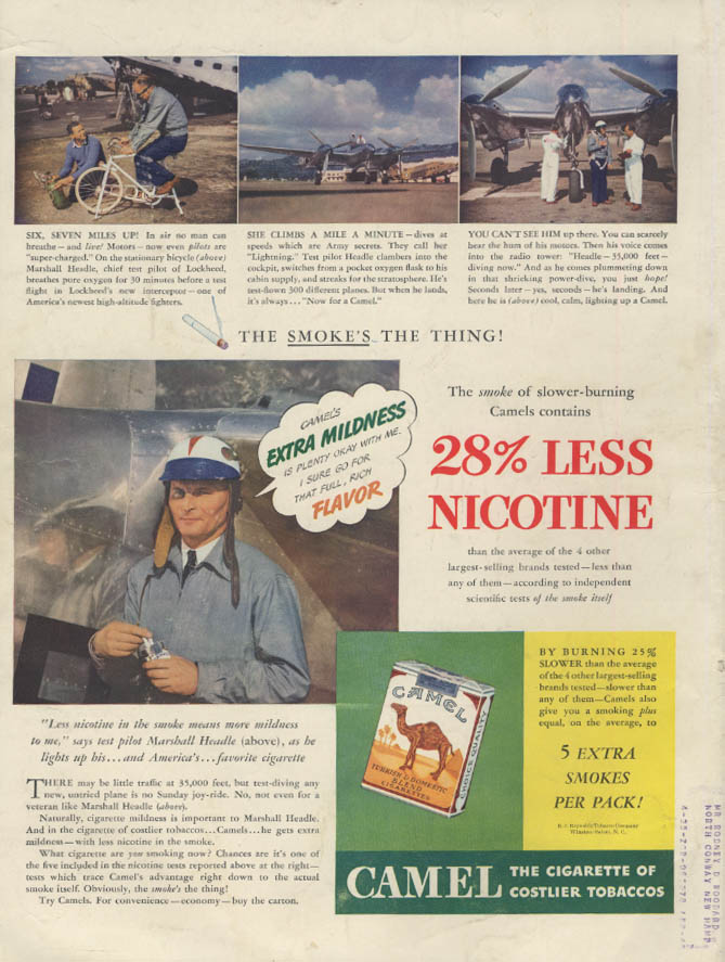Lockheed P-38 Test pilot Marshall Headle for Camel Cigarettes ad 1941 L