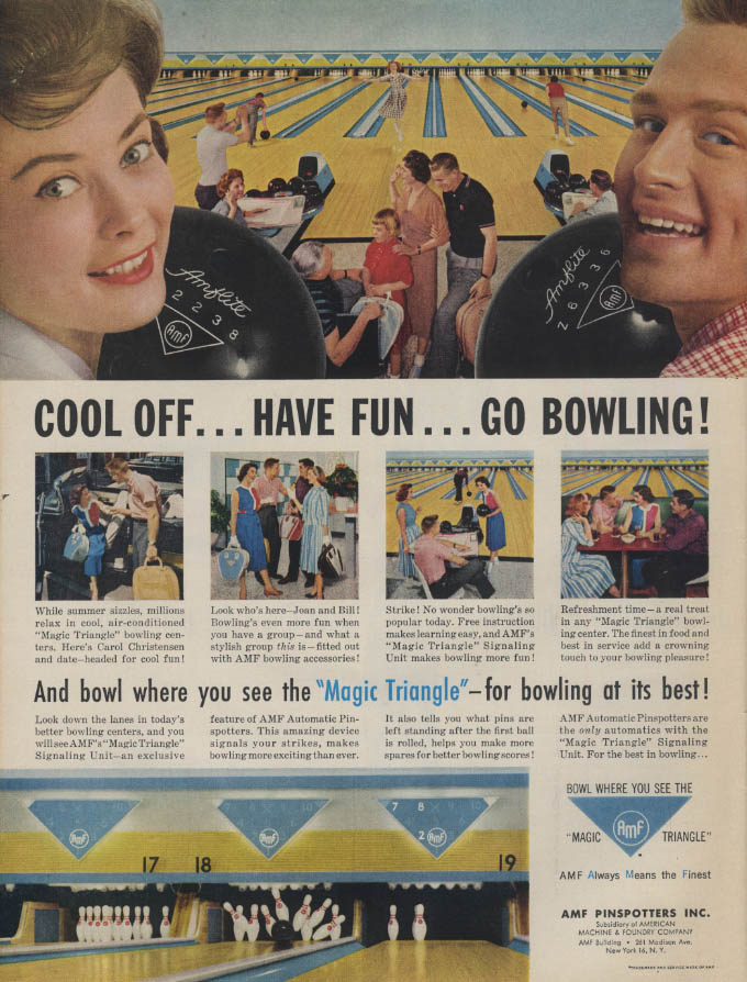 Cool off Have fun Go Bowling AMF Magic Triangle Bowling Alley ad 1959