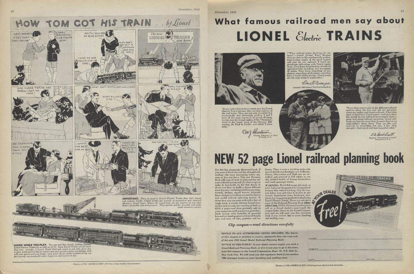 How Tom Got His Lionel Electric Trains ad 1932 AB