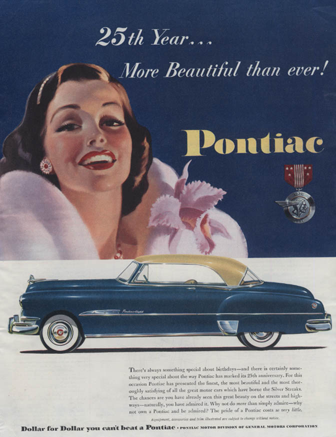 25th Year More Beautiful Than Ever Pontiac 2-door Hardtop ad 1951 Collier's