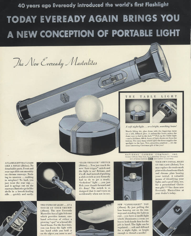 Eveready again brings you a new conception Masterlite Flashlight ad 1935