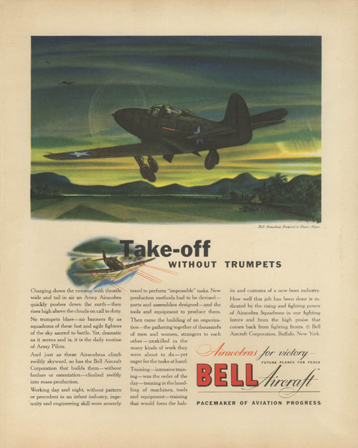 Take-off without trumpets Bell P-39 Airacobra ad 1942 F