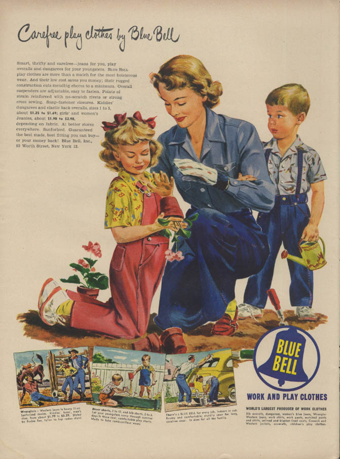 Carefree play clothes by Blue Bell ad 1949 mother & kids garden in dungarees