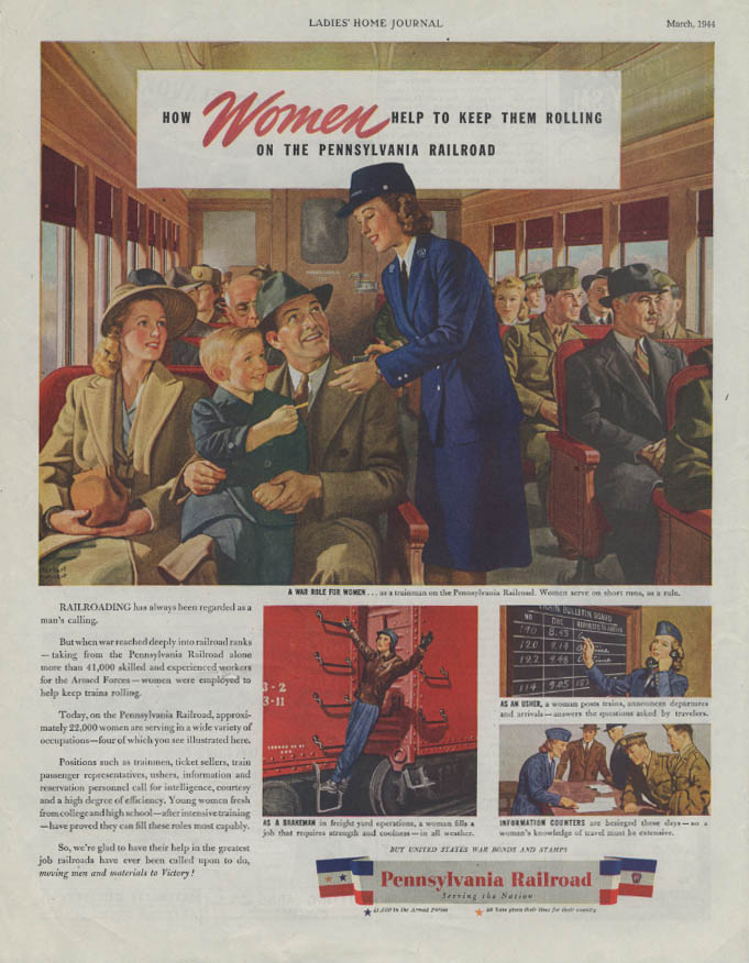 How Women keep them rolling on the Pennsylvania Railroad ad 1944 LHJ