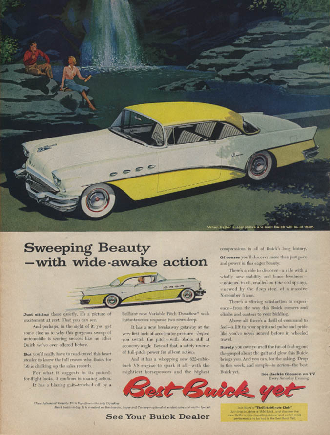 Sweeping Beauty with wide-awake action Buick Super 2-dr HT ad 1956 L