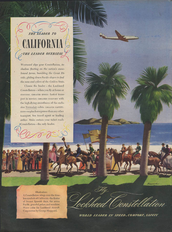 Leader to California The Leader Overseas Lockhed Constellation ad 1946 L