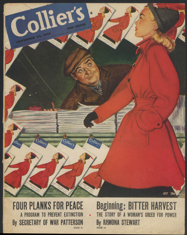 COLLIER'S cover ONLY cover girl passes newsstand 11/24/1945 Al Moore