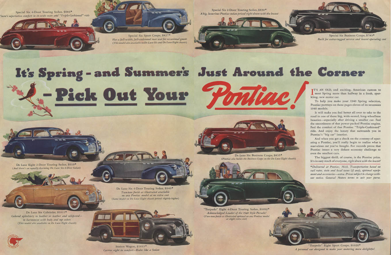 It's Spring Pick Out Your Pontiac ad 1940 Convertible Cabriolet Wagon Sport Cpe