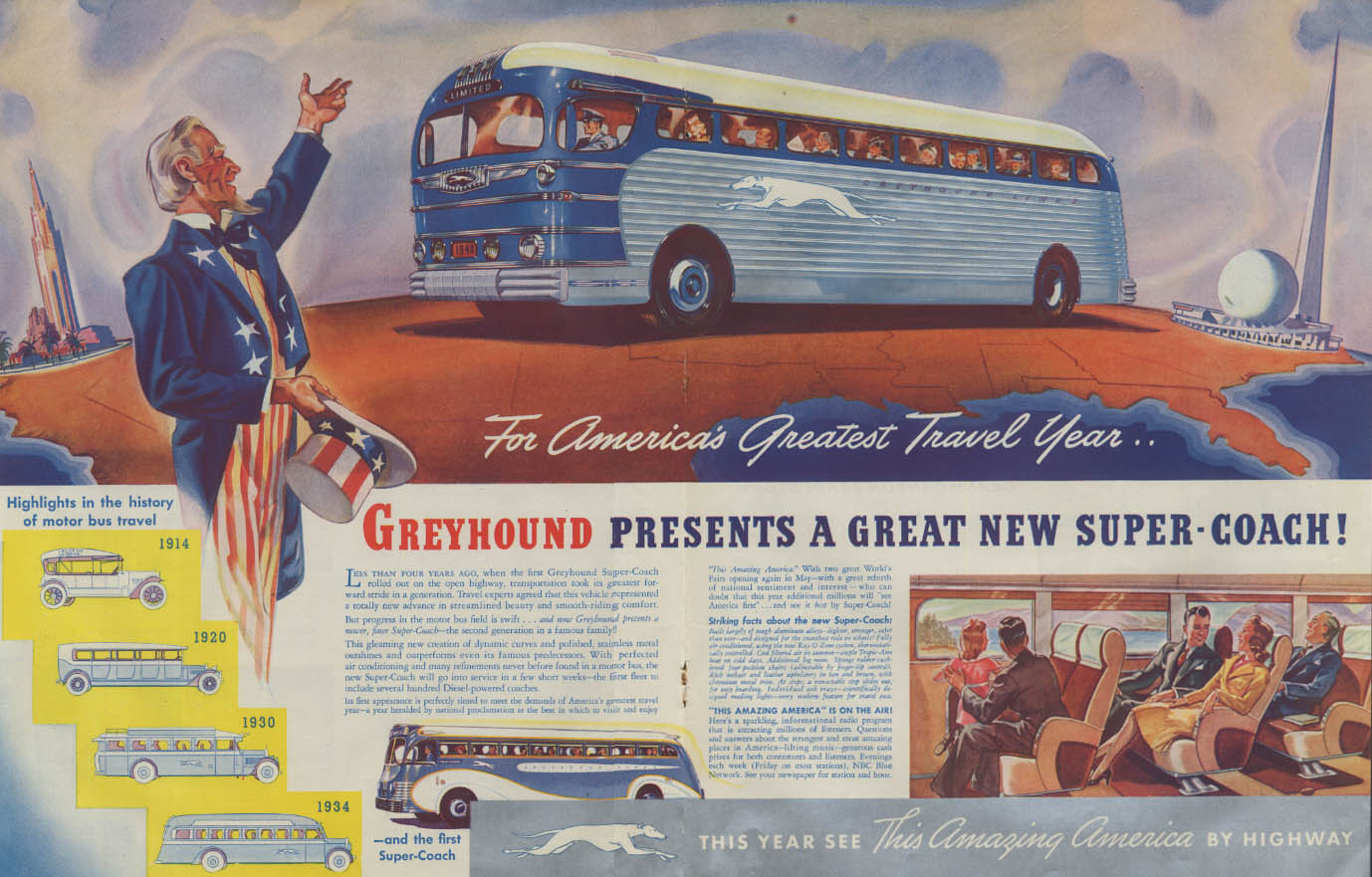 Greyhound presents a great new Super-Coach Bus ad 1940 New York World's Fair
