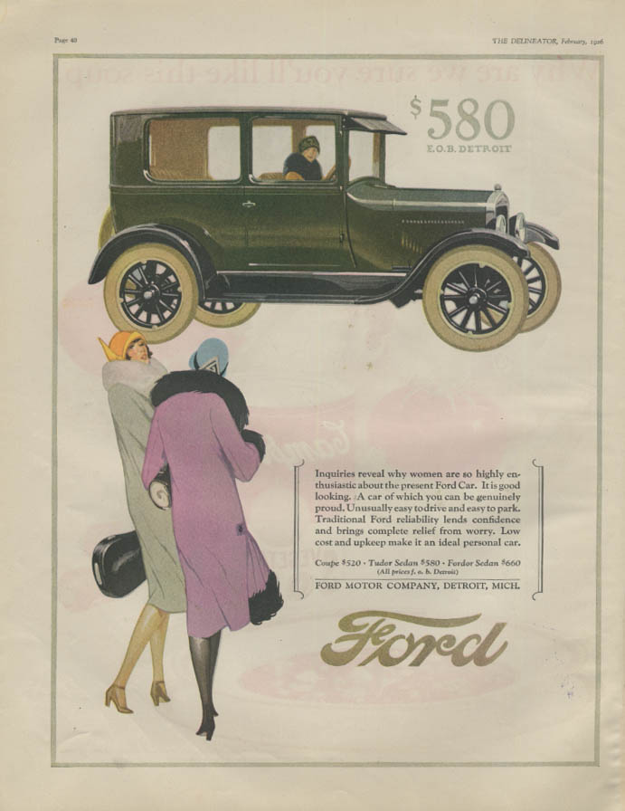 Inquiries reveal why women are so highly enthusiastic Ford Model T ad 1926