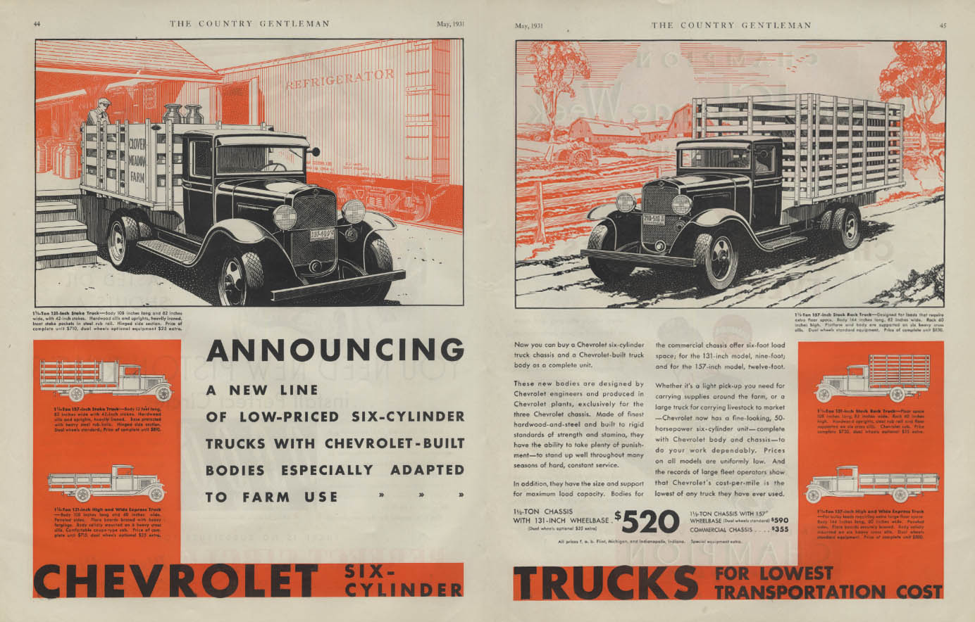 Announcing a new line of low-priced six-cylinder trucks Chevrolet ad 1931