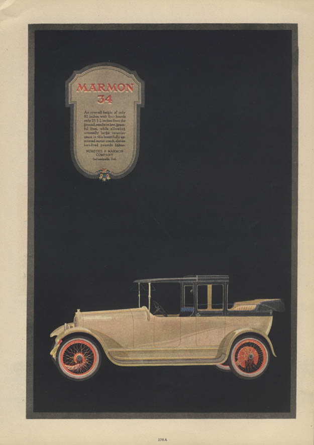An over-all height of only 81 inches Marmon 34 Cabriolet Town Car ad 1917