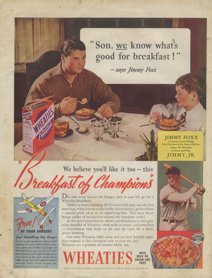 Boston red Sox Jimmy Foxx for Wheaties Cereal ad 1940 P