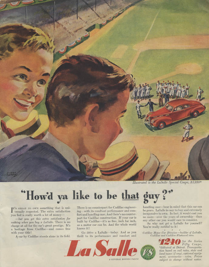 How'd you like to be THAT guy? La Salle Special Coupe ad 1940 baseball