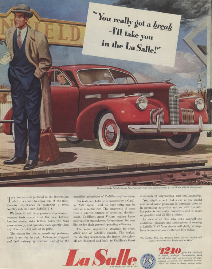You really got a break I'll take you in the La Salle Sedan ad 1940 P
