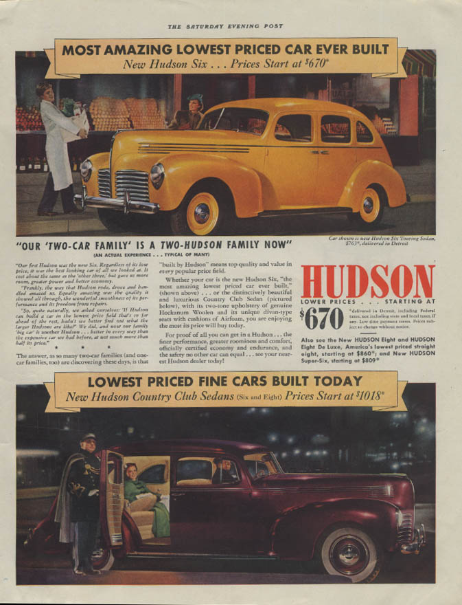 Most Amazing Lowest Priced Car Ever Built Hudson Sedan ad 1940 P