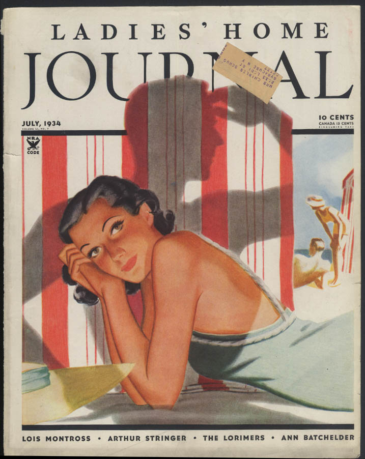 LADIES HOME JOURNAL COVER ONLY Al Parker bathing beauty hiding from guy