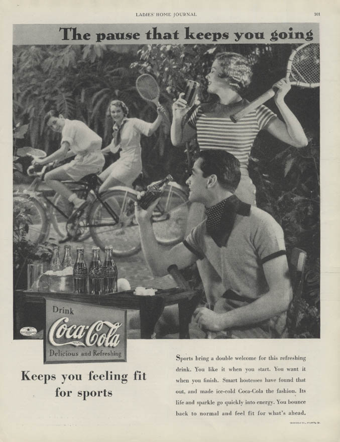 The pause that keeps you going Coca-Cola ad 1934 bicycling & tennis