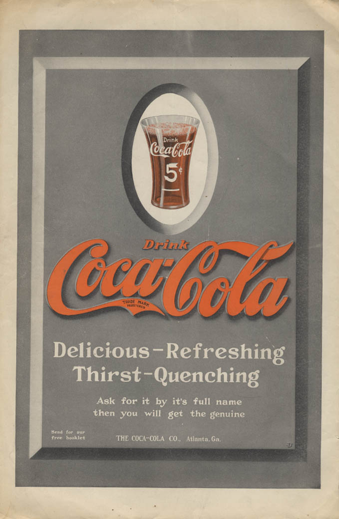 Dei licious Refreshing Thirst-Quenching Coca-Cola ad 1913 Leslie's