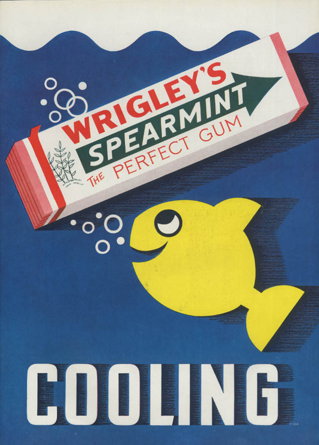 Cooling Wrigley's Spearmint The Perfect Gum ad 1935 Esquire yellow fish