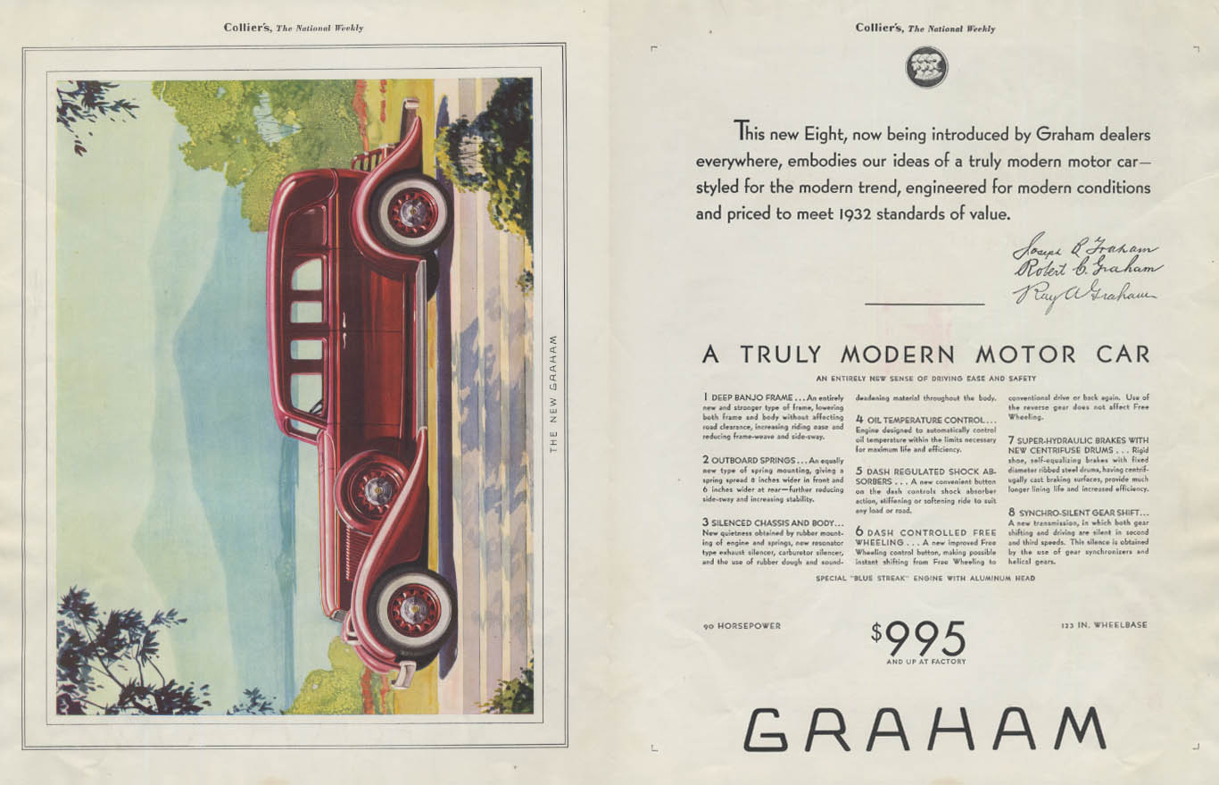 A truly modern motor car Graham Eight 4-door Sedan ad 1932 Collier's