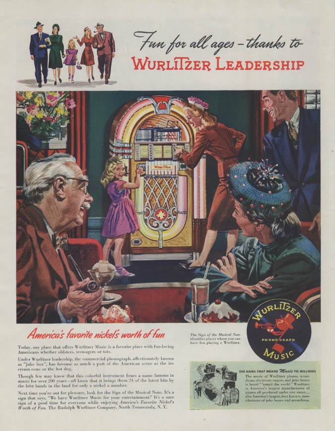 Fun for all ages thanks to Wurlitzer Jukebox Leadership ad 1946 Collier's